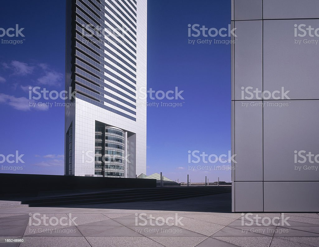 Morning sunlight hitting financial district of Dubai royalty-free stock photo