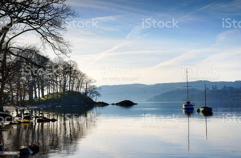 Morning sunlight on Lake Windermere stock photo