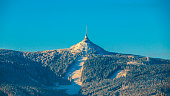 istock Morning sunrise at Jested Mountain and Jested Ski Resort. Winter time mood. Liberec, Czech Republic 897542212