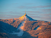 istock Morning sunrise at Jested Mountain and Jested Ski Resort. Winter time mood. Liberec, Czech Republic 921681884