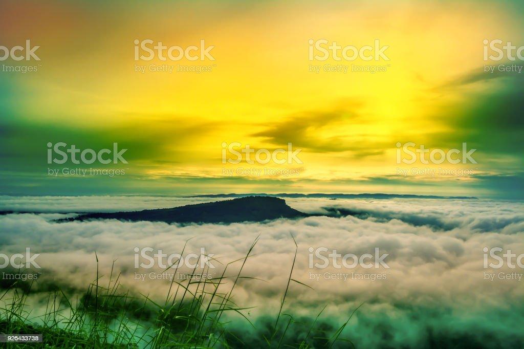 Morning Sunrise At Mountain Nature Wallpaper Background Stock