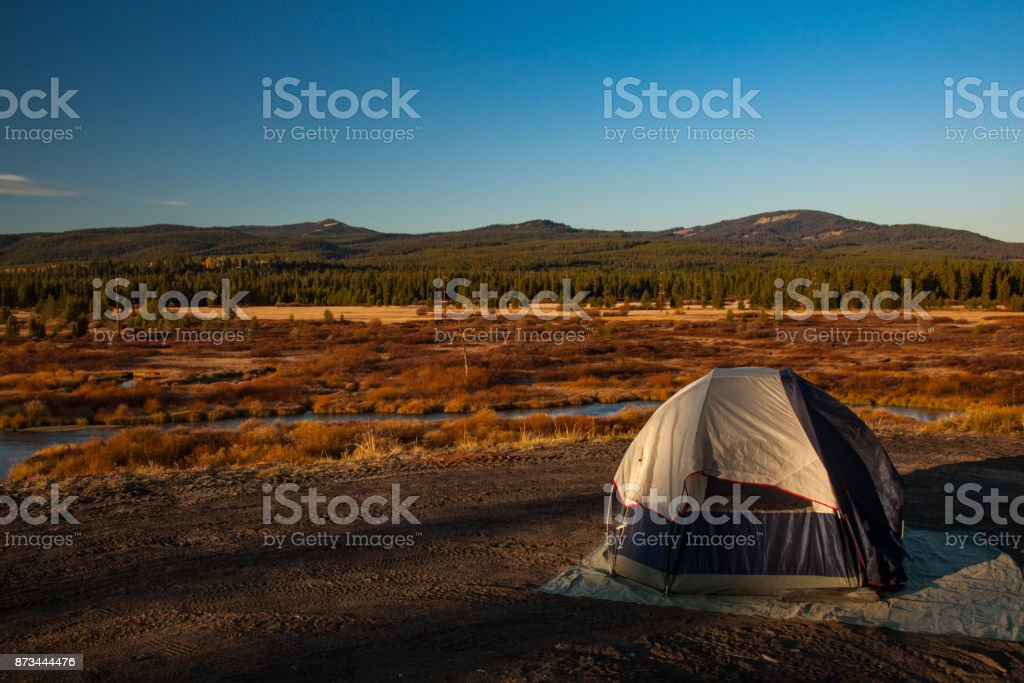 Morning sunrise in west yellowstone stock photo