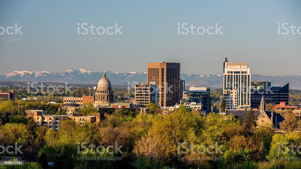 Morning sunrise on the city of Boise Idaho stock photo