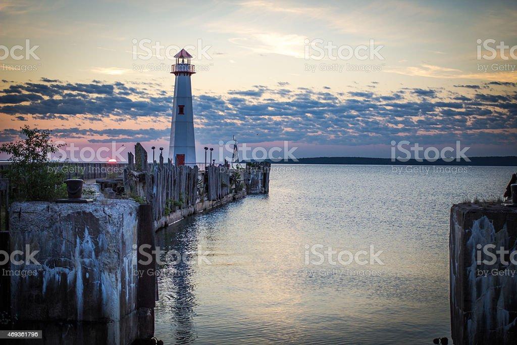 Morning Sunrise On The St. Ignace Michigan Waterfront stock photo