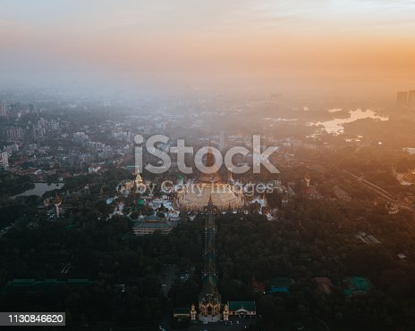 Aerial shot of the famous pagoda, Shwe Dagon at sunrise.