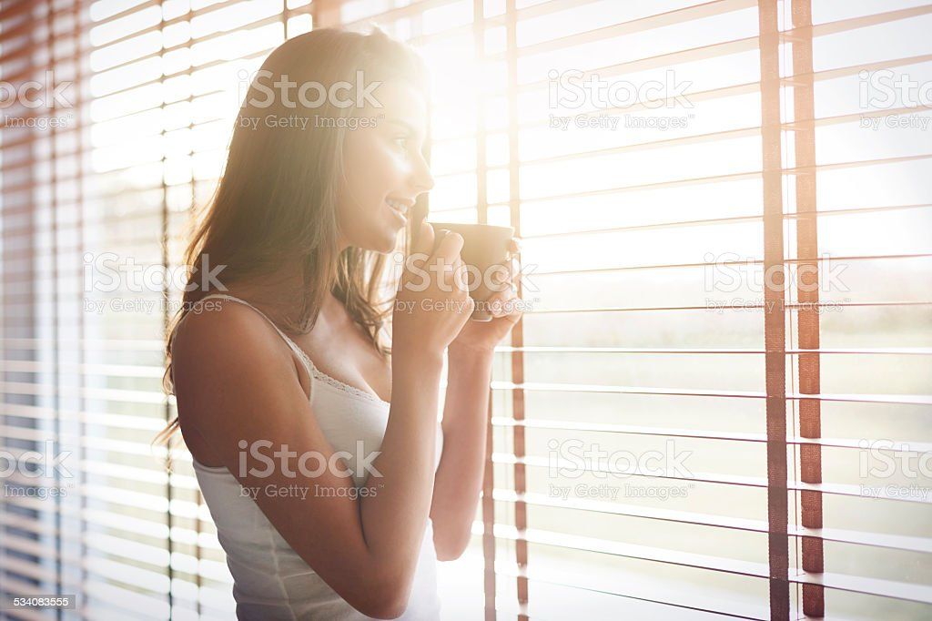 Morning sunshine and good coffee for start a day stock photo