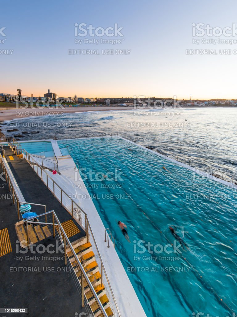 Morning swimming at Bondi stock photo