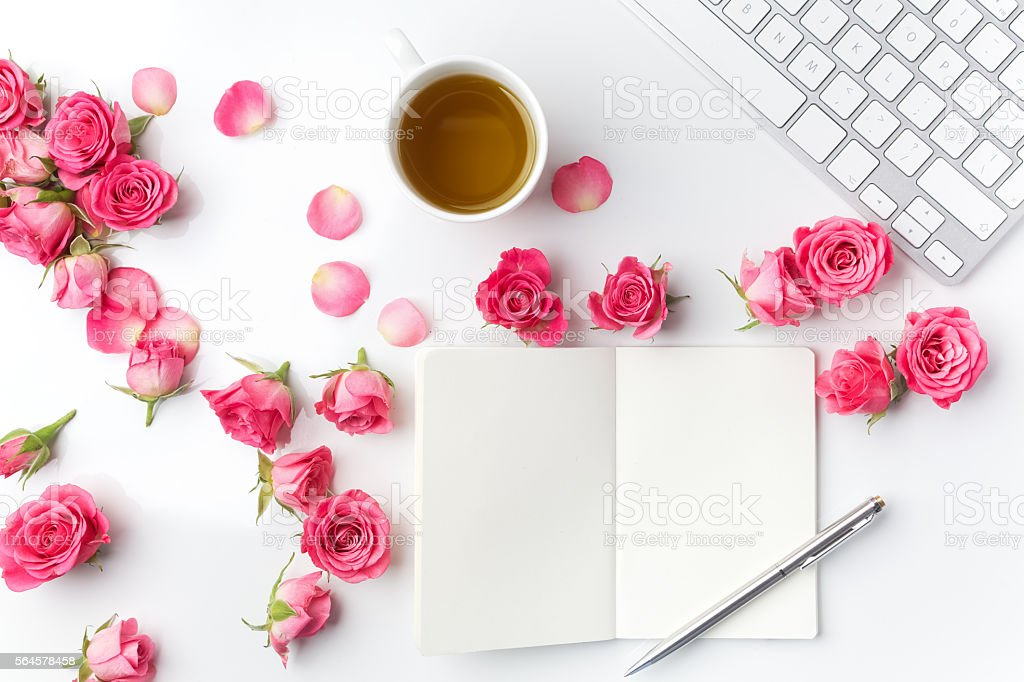 Morning tea and Notes. Time management,Creative background Top view stock photo