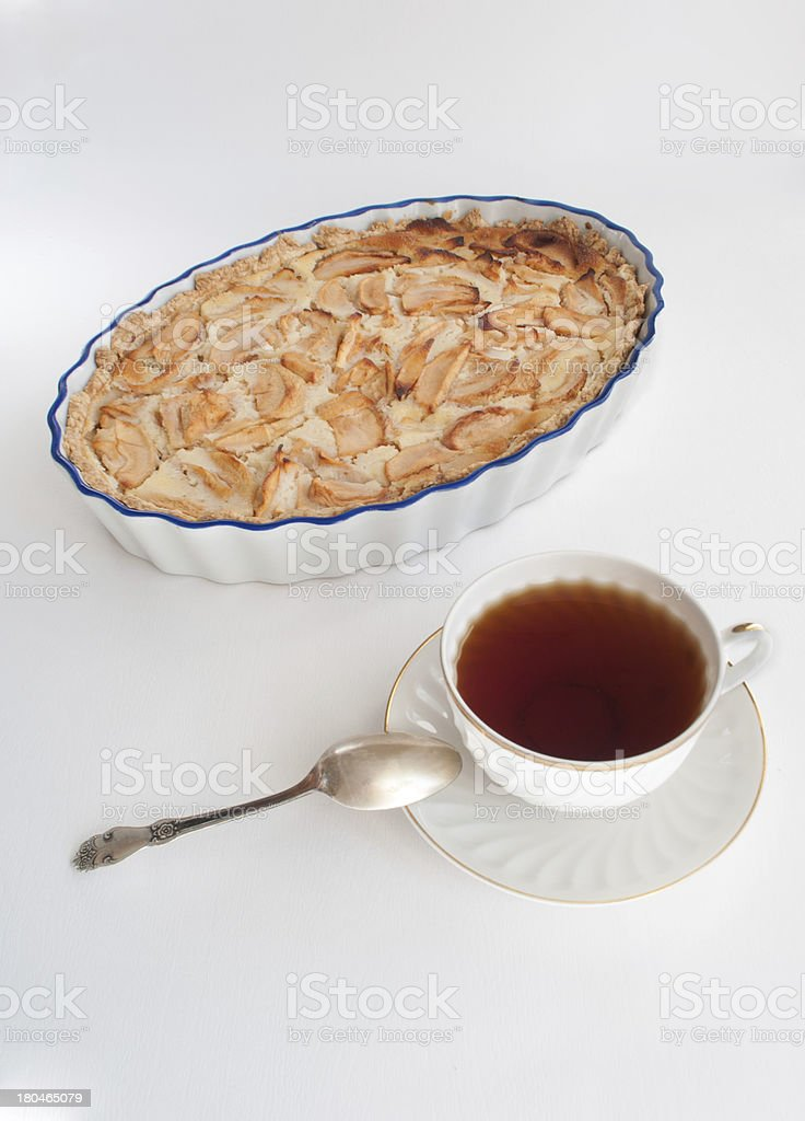 Morning tea with apple pie royalty-free stock photo