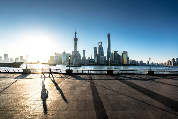 Morning, the Bund in Shanghai Asia, China - East Asia, East China, Huangpu District, Pudong shanghai stock pictures, royalty-free photos & images