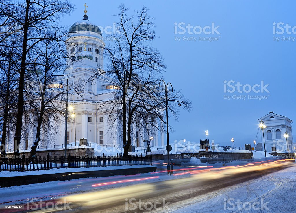 Morning traffic by Lutheran Cathedral stock photo