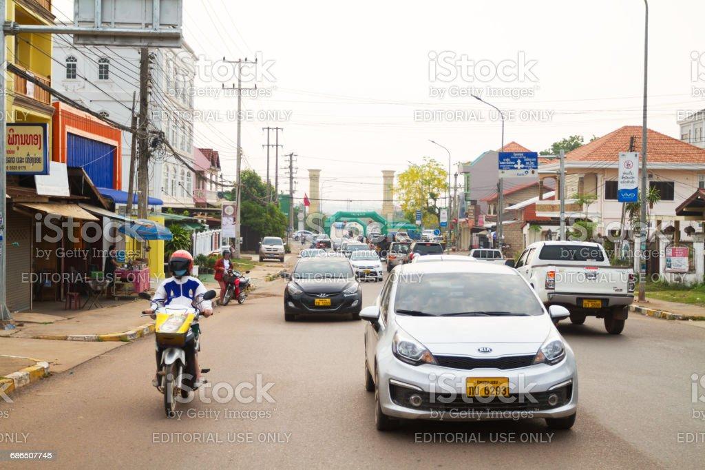 Morning traffic scene in Vientiane foto stock royalty-free