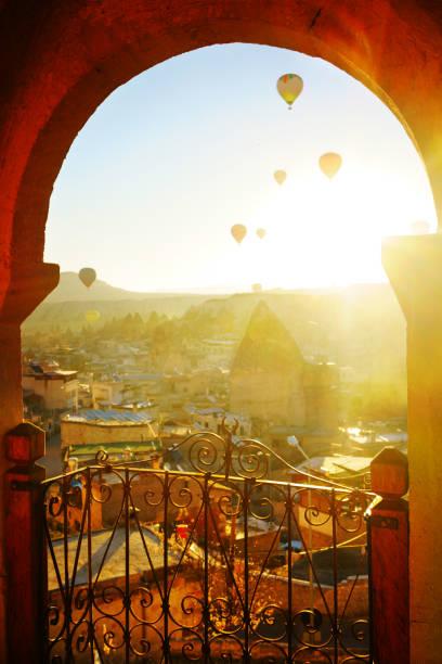 Morning Twilight in Fairy Chimneys of Goreme Valley Cappadocia stock photo