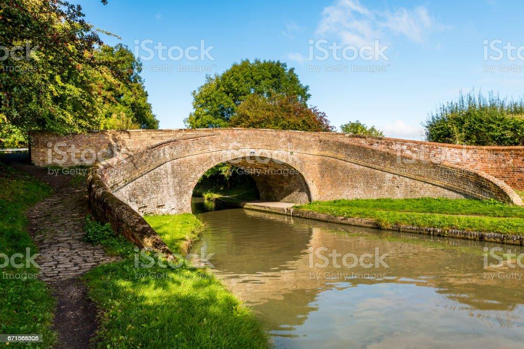 Morning view bridge over canal England United Kingdom stock photo