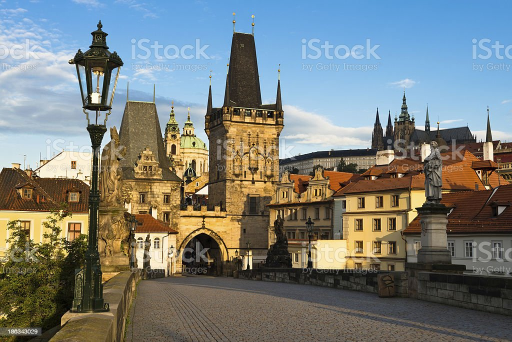 Morning view from Charles Bridge in Prague stock photo