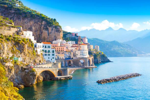 morning view of amalfi cityscape, italy - milan fiorentina foto e immagini stock