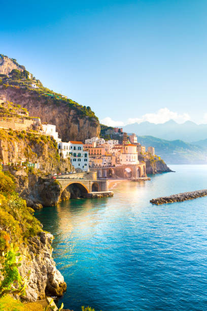 Morning view of Amalfi cityscape, Italy stock photo