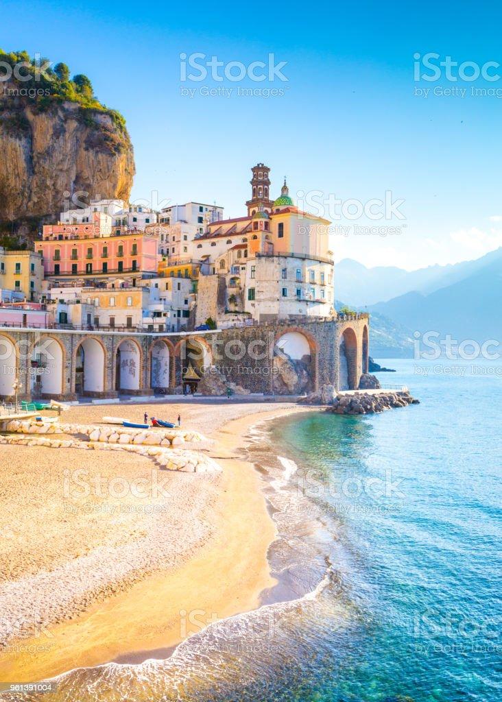 Morning view of Amalfi cityscape, Italy stock photo