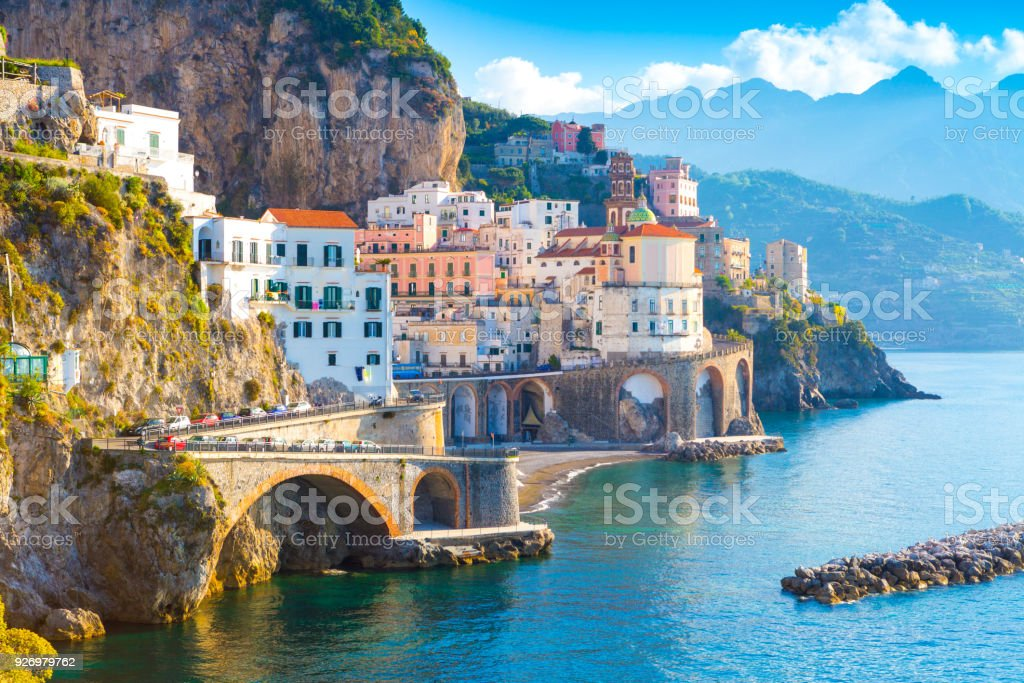 Morning view of Amalfi stock photo