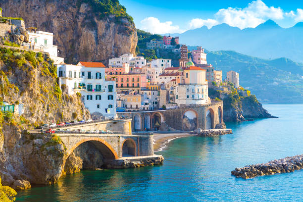 Morning view of Amalfi Morning view of Amalfi cityscape on coast line of mediterranean sea, Italy mediterranean sea stock pictures, royalty-free photos & images