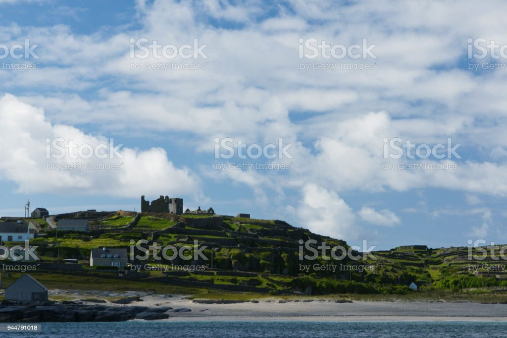 Morning View of Inisheer from Doolin Ferry with O'Brian's Castle stock photo
