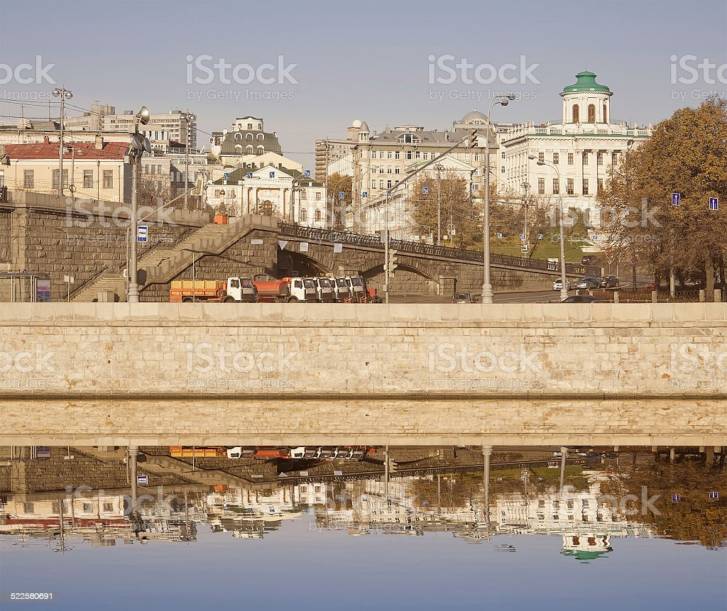 Morning view of Moscow city center. stock photo