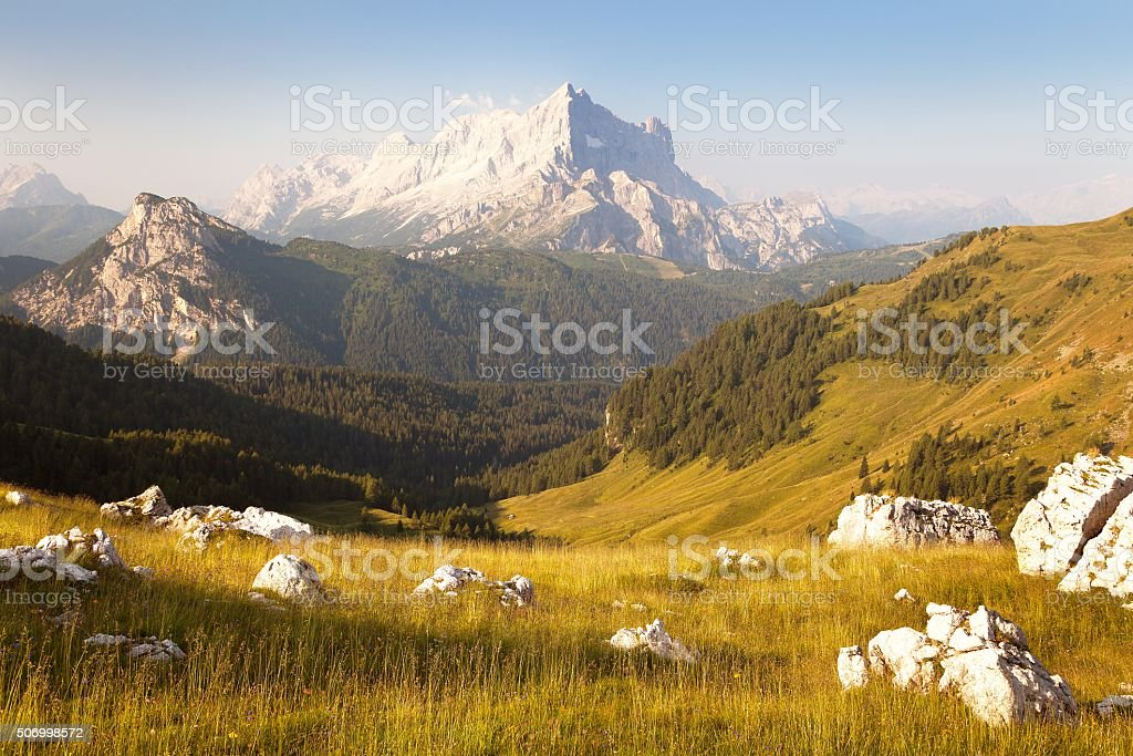 Morning view of Mount Civetta stock photo