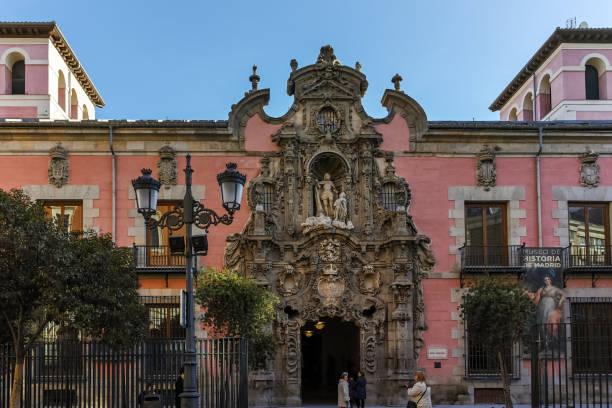 Madrid City of Madrid tarihi Müzesi sabah görünümü, Ispanya stok fotoğrafı