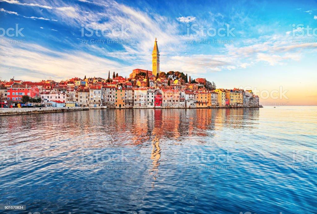Morning view of old town Rovinj, Croatia