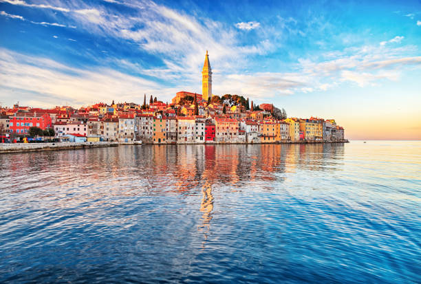 Morning view of old town Rovinj, Croatia stock photo