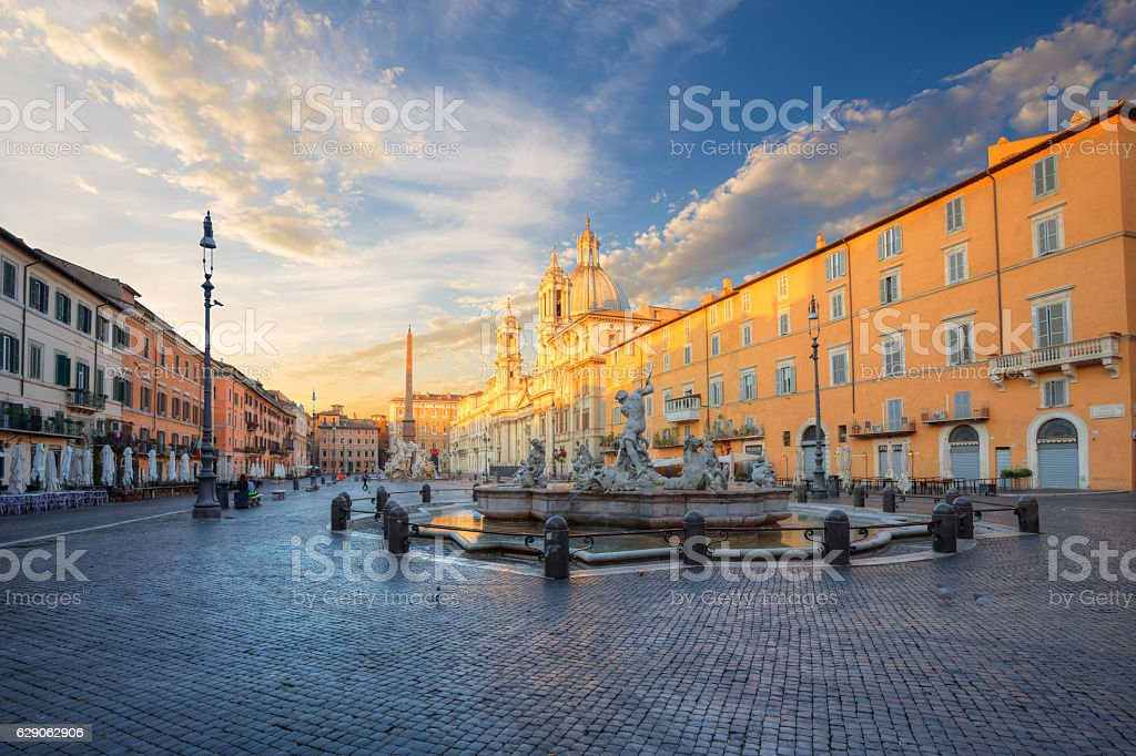 morning view of Piazza Navona in Rome. Italy stock photo