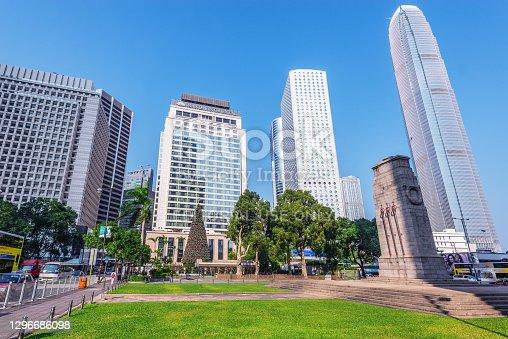 istock Morning view of Statue square. Hong Kong. 1296686098