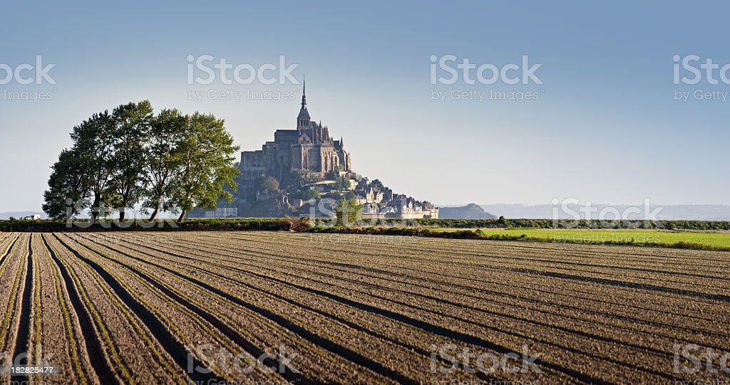 Morning view of the Le Mont Saint-Michel stock photo
