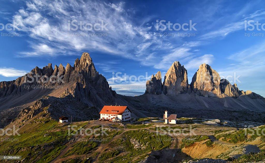 Morning view of Tre Cime di Lavaredo stock photo