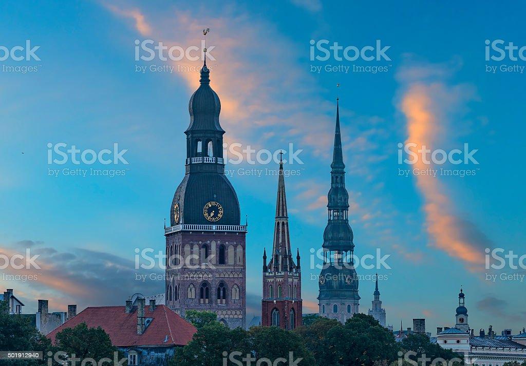 Morning view on churches of old Riga city, Latvia stock photo