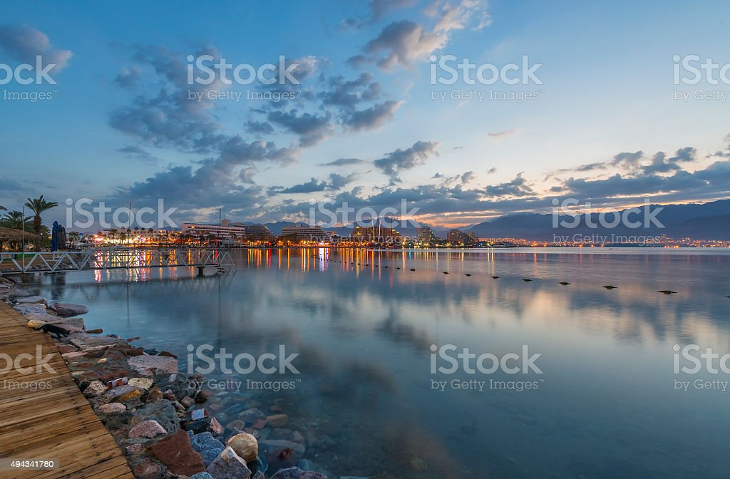 Morning view on the Aqaba gulf and Eilat city, Israel stock photo