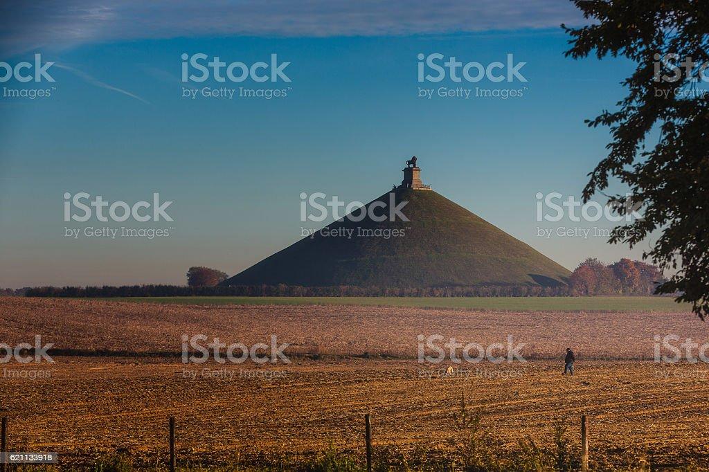 Morning walk on the Waterloo Battlefield stock photo