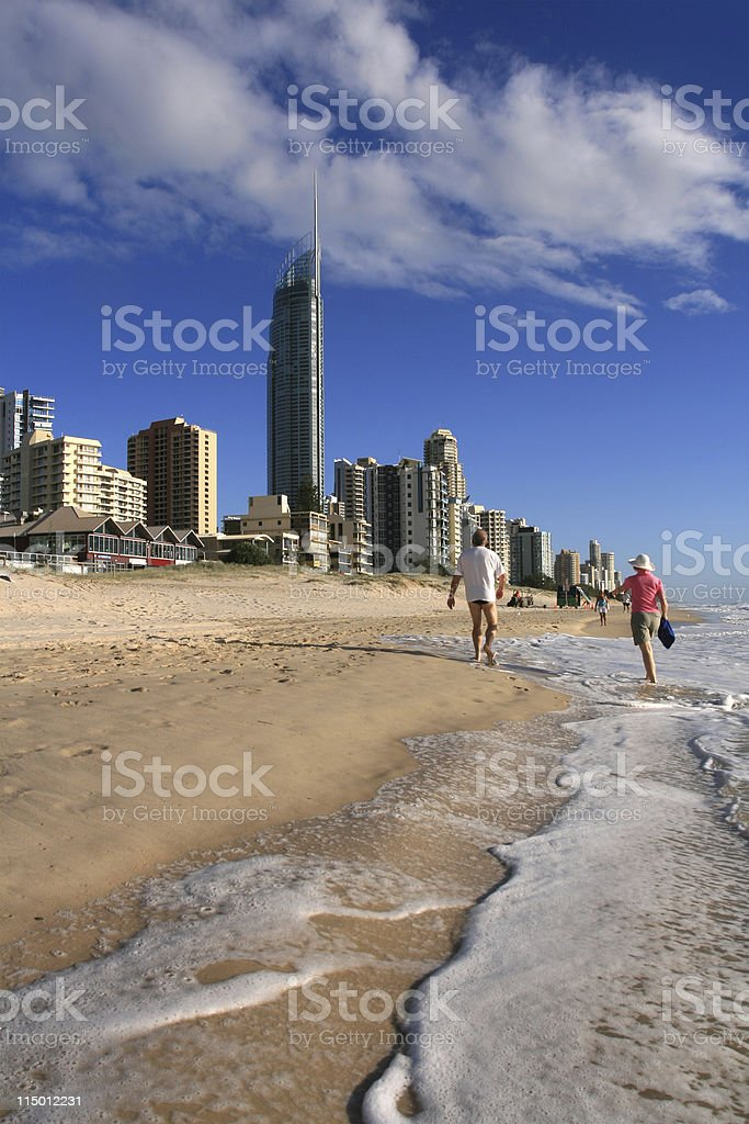 Morning Walk, Surfers Paradise royalty-free stock photo