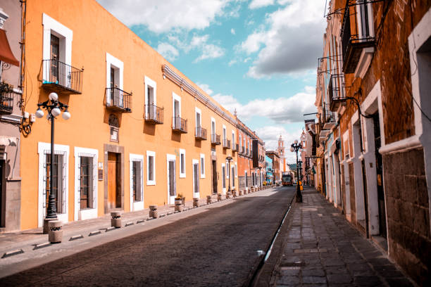 Morning walk through Puebla Photo of the empty street of Puebla. Morning walk is the best for exploring the city puebla state stock pictures, royalty-free photos & images