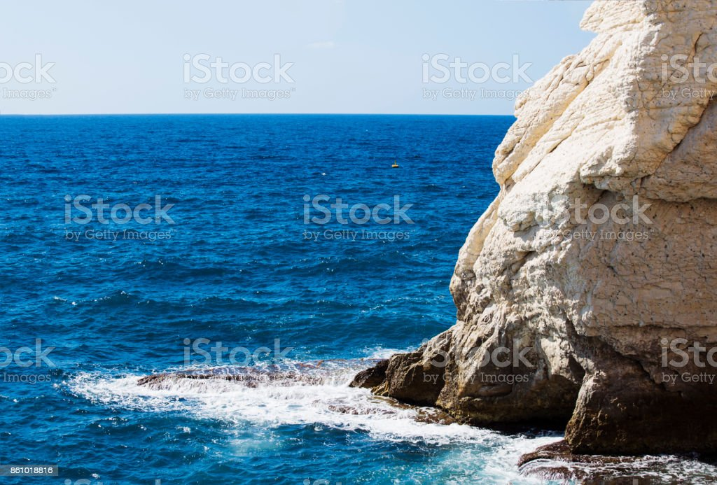 Morning waves on the Mediterranean sea near Rosh Hanikra, Israel stock photo