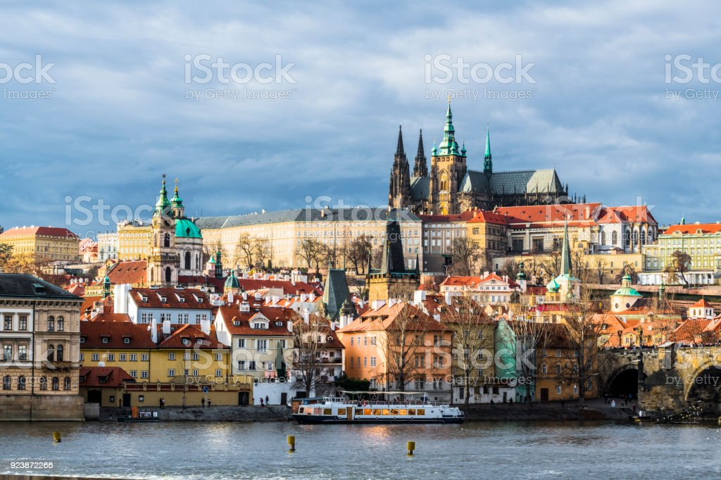 Morning with a view of St. Vitus Cathedral stock photo
