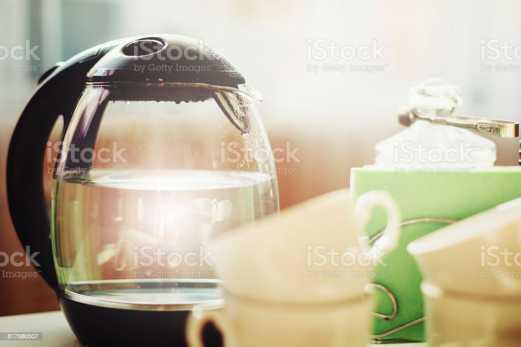Morning with tea or coffee drinking stock photo
