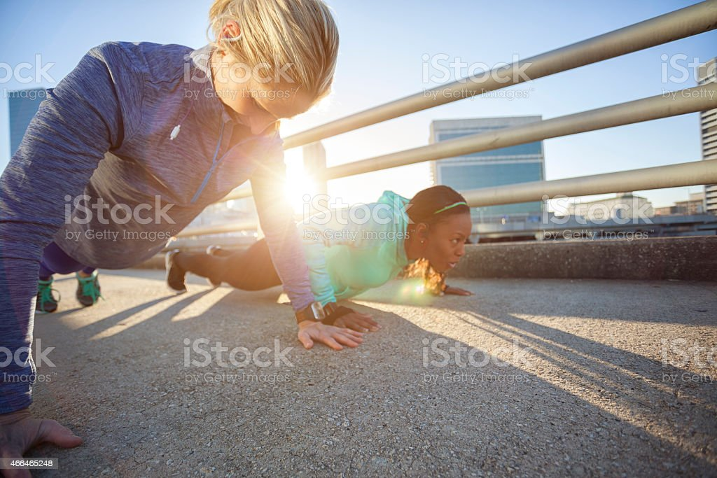 morning workout in the city stock photo
