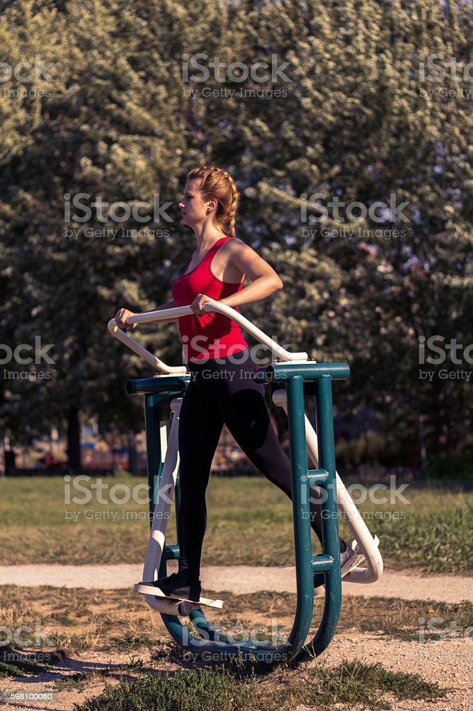 Morning workout in the park stock photo