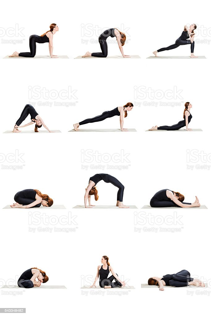 Morning yoga sequence of 12 poses stock photo