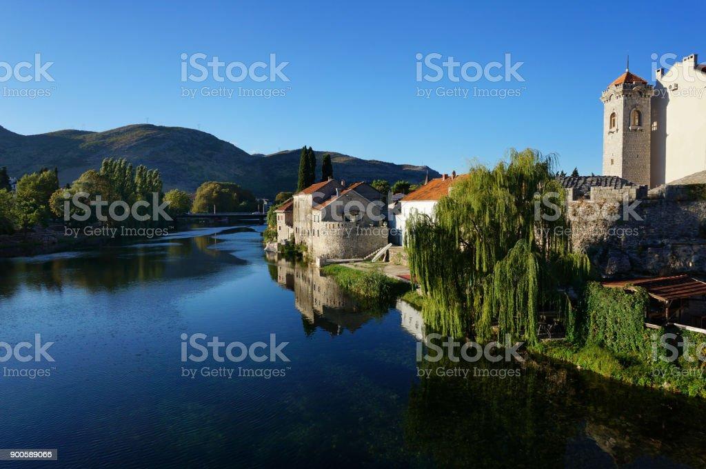 Morning_mediterranean town_clean river stock photo