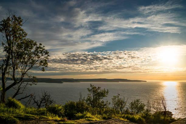 Morning_ocean_view_on_headland stock photo