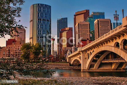 A vibrant morning view in downtown Calgary