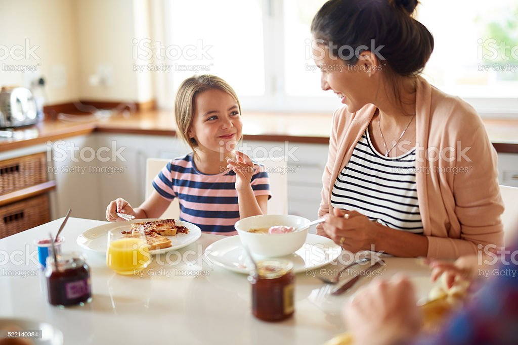 Mornings with Mom are the best stock photo