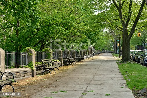 Morningside Drive and  Morningside Park in Morningside Heights neighborhood of New York City